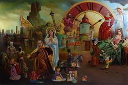 تقابل «ظلم» و «امید» در آثار یک نقاش/ سلبریتیها سوژه شدند