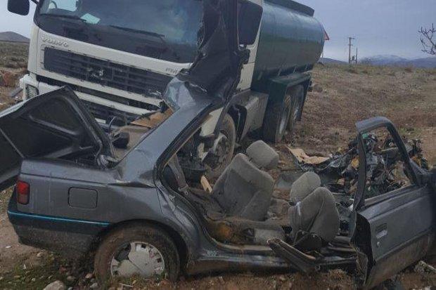 برخورد کامیون با خودروی پژو یک کشته و ۲مصدوم بر جای گذاشت