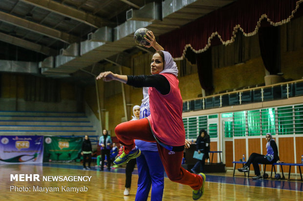 Training session of Iranian women's handball team
