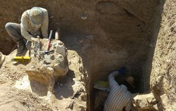 Workmen are seen in an archaeological trench in Bazeh Hoor, northeast Iran.