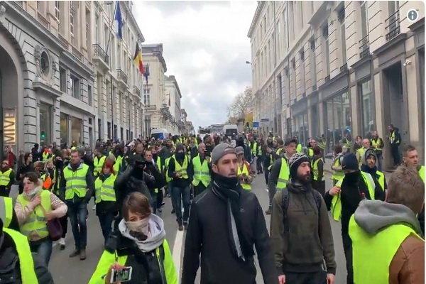 بازداشت ۵۰ تظاهرات کننده در بروکسل