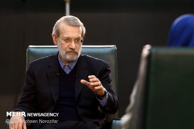 Iran's Parl. Speaker participating in a live TV interview