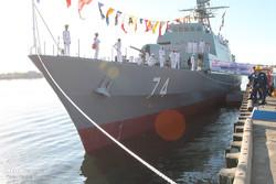 پرچم ایران بر فراز ناوشکن سهند به اهتزاز درآمد