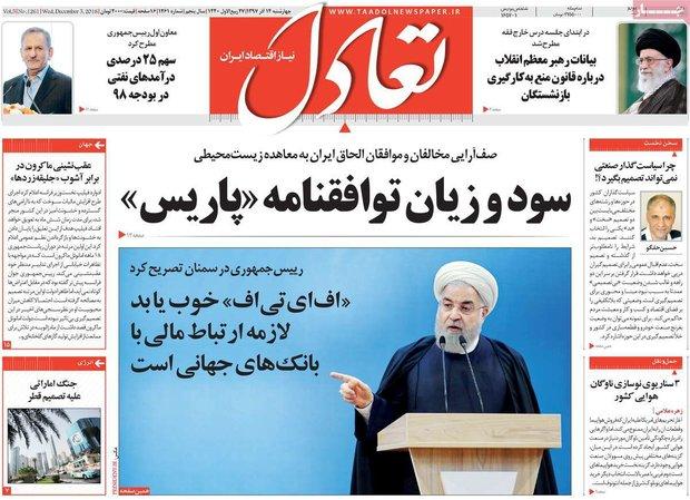 صفحه اول روزنامههای اقتصادی