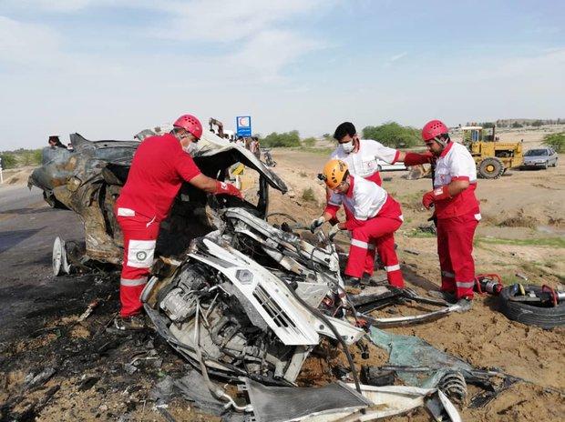 سه کشته و دو مصدوم بر اثر تصادف دو خودرو در محور بوشهر - دلوار