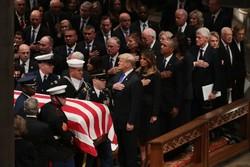 حضور اوباما و ترامپ در مراسم خاکسپاری بوش