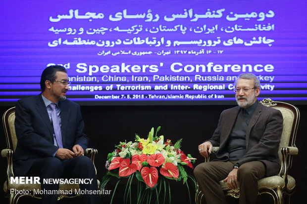 دیدار روسای مجلس افغانستان و ترکیه با علی لاریجانی