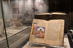 This photo shows a rare manuscript on display in Hezardastan Hall of the Malek National Library and Museum Institution.