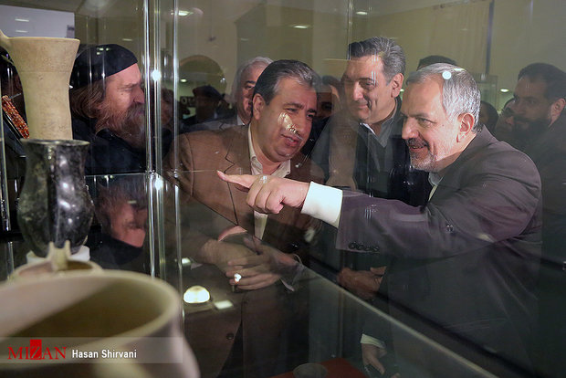Exhibit displaying Tehran archaeological discoveries