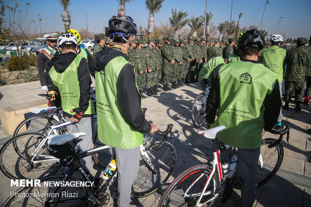 Cycling tour of Iran's police near Mausoleum of Imam Khomeini