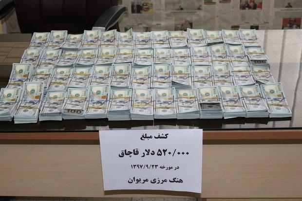 ۵۲۰ هزار دلار ارز قاچاق در مرز مریوان کشف شد