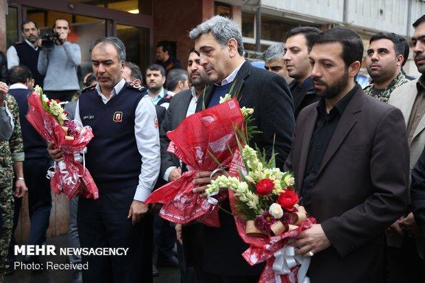 پیکر آتش نشان شهید تشییع شد