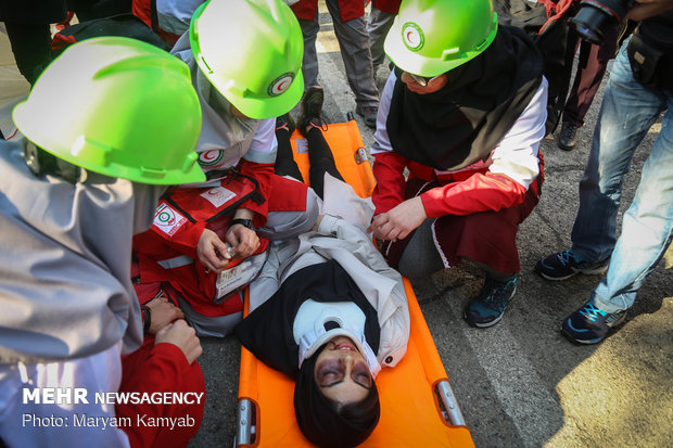 Earthquake drill in dormitories