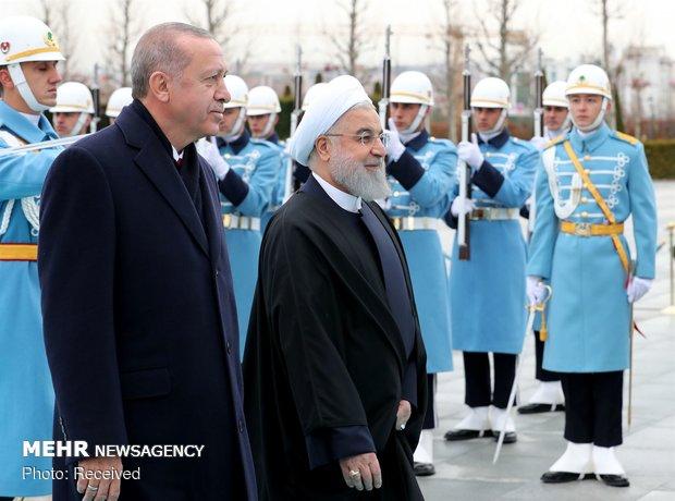 أردوغان يستقبل الرئيس الايراني حسن روحاني بأنقرة