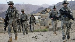 This photo shows US troops at Forward Operating Base in Baylough, Afghanistan, June 16, 2010.