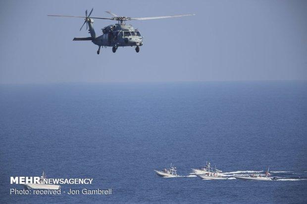 تعقیب ناو آمریکایی توسط قایق های تندرو سپاه