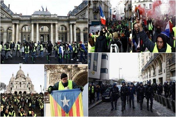 ۱۰۰ معترض فرانسوی بازداشت شدند/ خشونت شدید پلیس در «پاریس»
