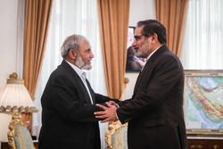 Şemhani ile Filistinli yetkilinin görüşmesinden kareler