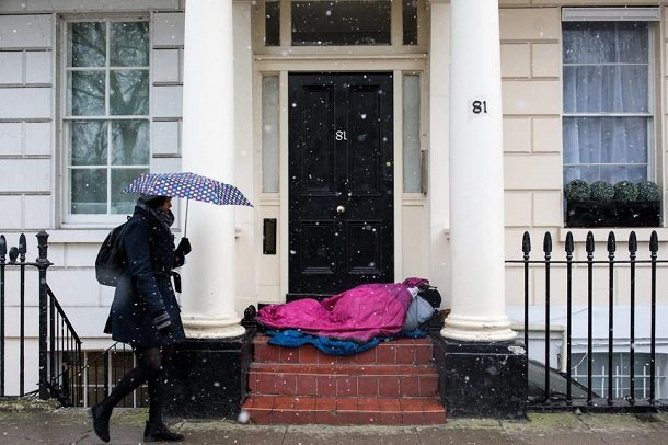 هر ۱۹ ساعت یک بی خانمان در انگلیس جان خود را از دست می دهد