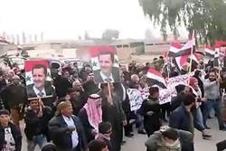 تظاهرات ساکنان «الرقه» در حمایت از دولت و ارتش سوریه