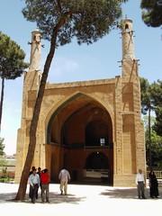 People visit Menar Jonban, a tourist destination in Isfahan, central Iran.