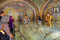 Foreign travelers visit UNESCO-registered Golestan Palace in downtown Tehran.