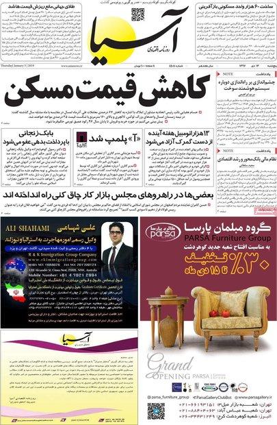 صفحه اول روزنامههای اقتصادی ۱۳ دی ۹۷