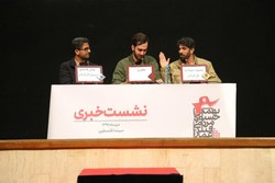 "Iranian filmmaker Mahmud Shahbazi (R) and his assistant Adel Qasemi (L) attend a press conference on their documentary ""The Sea Closed"" during the Ammar Popular Film Festival at Tehran's Felestin Cine"