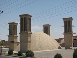 A water reservoir equipped with wind catchers on the top, Yazd, central Iran