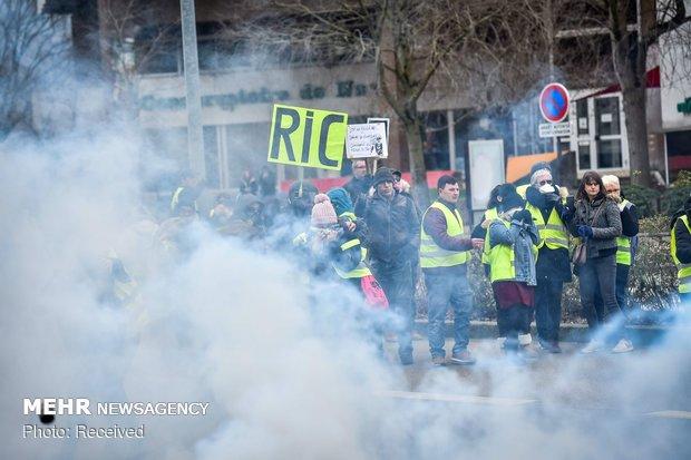 استمرار احتجاجات اصحاب الستر الصفراء في العام الجديد