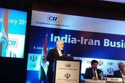 Zarif at an Iran-India business forum