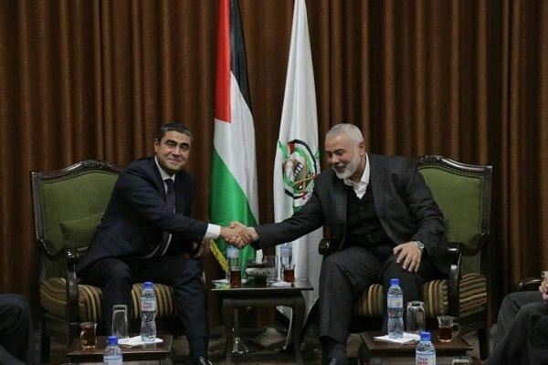 دیدار هیأت بلندپایه مصری با «اسماعیل هنیه» در غزه