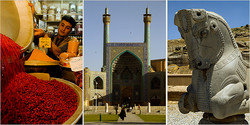 From left: A spice vendor in the Grand Bazaar in Isfahan; the Imam Mosque; ruins at Persepolis. (Credit Greg Von Doersten for The New York Times)