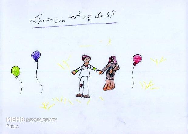 نقاش هایی کودکان بیمار در روز پرستار