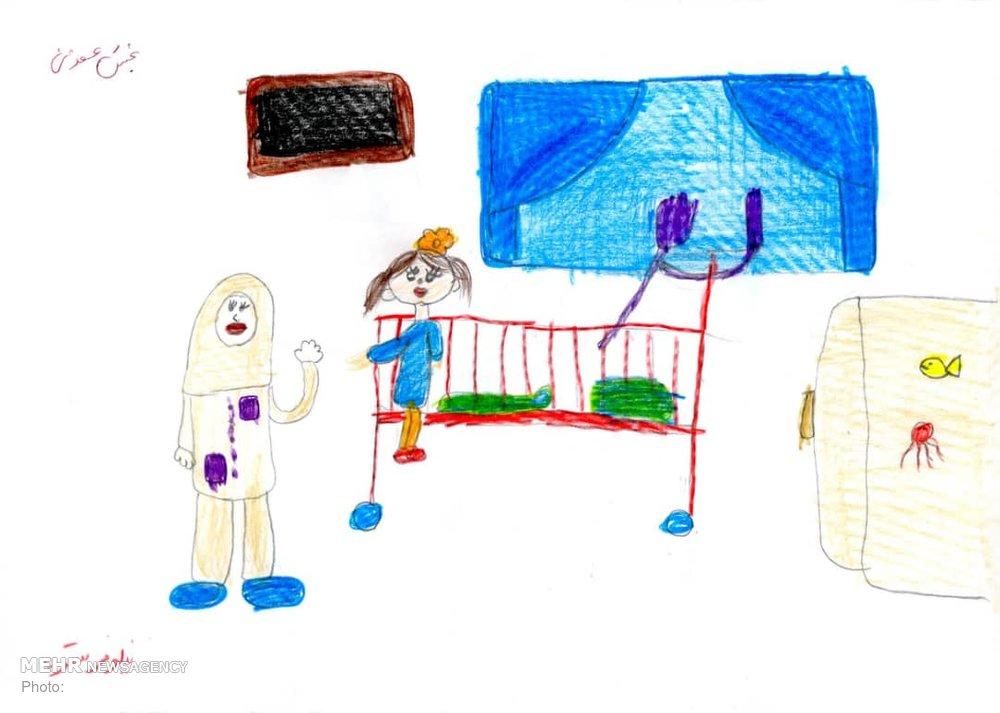 نقاشی های کودکان بیمار در روز پرستار