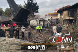 تصاویری از اطفای حریق هواپیمای سقوط کرده در صفادشت
