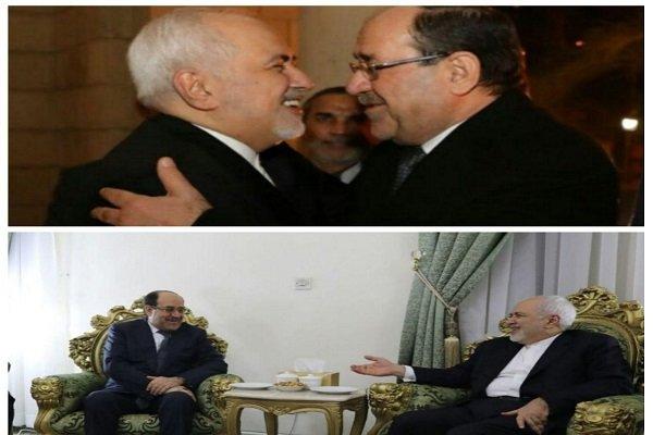 ظريف يبحث مع نوري المالكي القضايا الثنائية بين طهران وبغداد