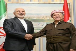 ظريف يلتقي برئيس الحزب الديمقراطي الكردستاني مسعود البارزاني