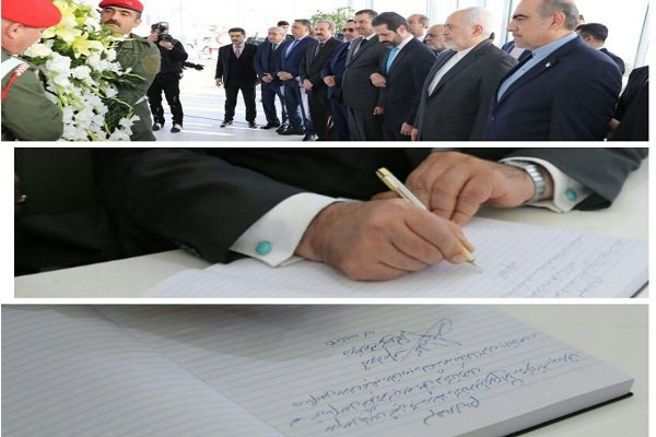 Zarif arrives in Sulaimaniyah, pays tribute to late president Talabani