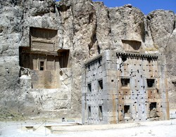 Ka'be-ye Zartosht is seen before a rock-hewn tomb in Naqsh-e Rostam, Fars province, southern Iran.
