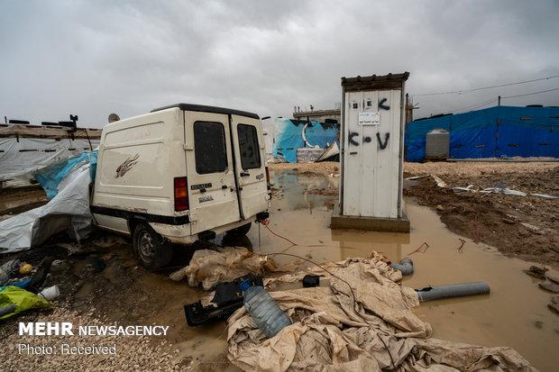 سیل در کمپ آوارگان سوری در لبنان