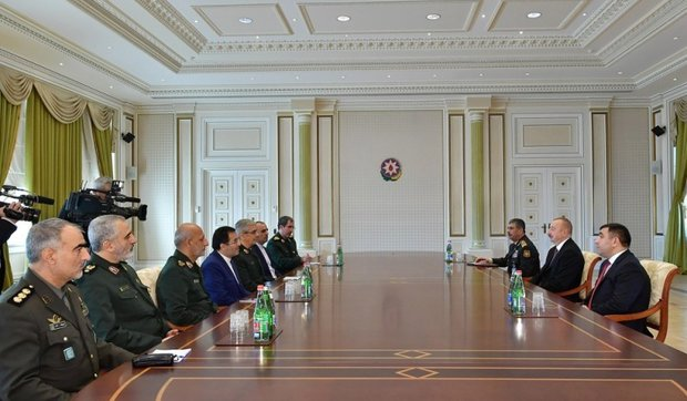 Iran Armed Forces chief of staff talks military coop. with Azerbaijan president