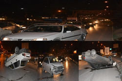 واژگونی ۳ خودرو در تصادف زنجیرهای /۳ نفر زخمی شدند