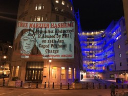 Human activists in England voice their protest against Marzieh Hashemi's detention