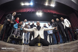 Renowned Iranian stuntman Arsha Aqdasi (C) and his colleagues pose during a meeting of stuntmen at Tehran's Shafaq Cultural Center on January 18, 2019. (Mehr/Mohammad Moheimani)