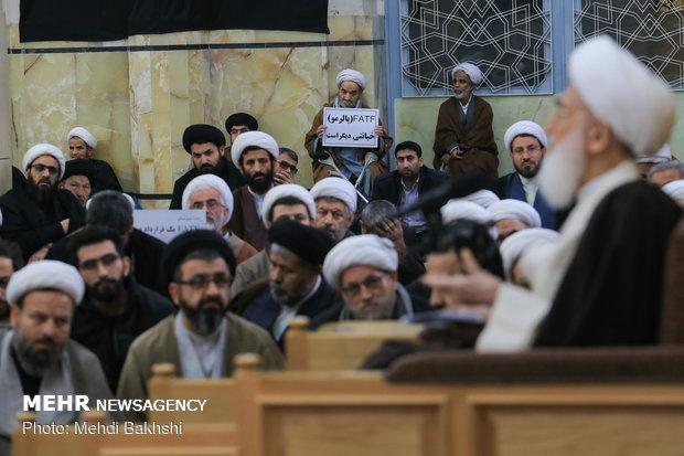 تجمع طلاب در درس خارج آیت الله نوری همدانی در اعتراض به لوایح چهارگانه FATF