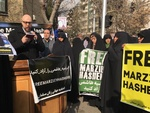 Iranians rally in front of Swiss Embassy to support detained journalist