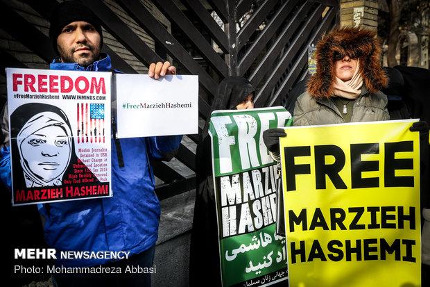 """وقفة احتجاجية بطهران تطالب بحرية الصحفية """"مرضية هاشمي"""""""