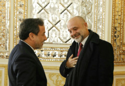 Polish Deputy Foreign Minister Maciej Lang and his Iranian counterpart Abbas Araqchi