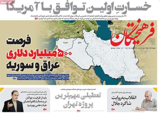 صفحه اول روزنامههای ۲ بهمن ۹۷